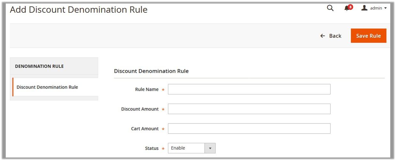 Add Discount Denomination Rule