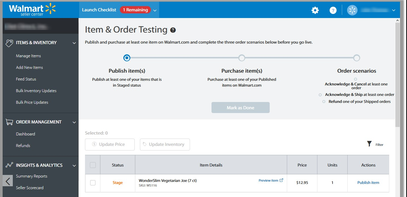 item and order testing on seller account