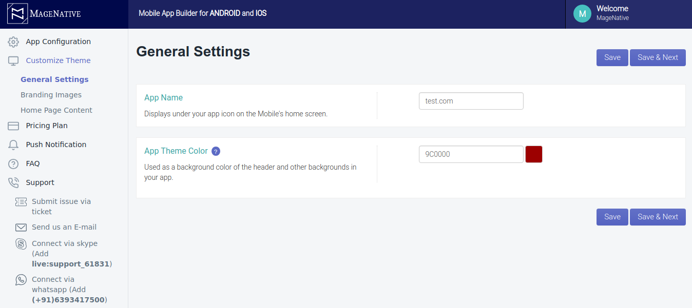 Shopify Mobile App Customize theme general settings