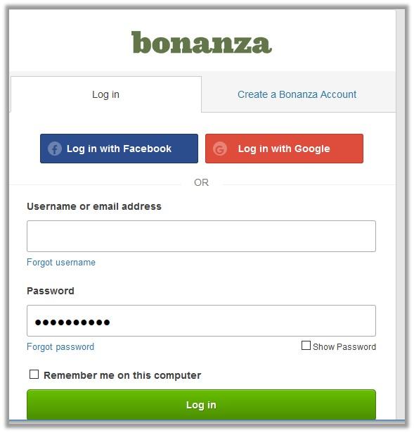 bonanzaLoginPage