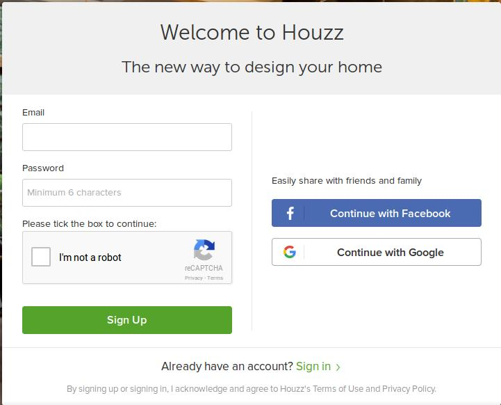Houzz SignUp Page