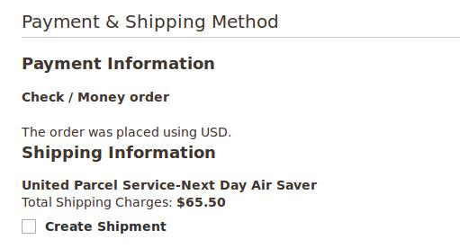 Payment&ShippingMethod