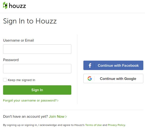 Sell On Houzz SignIn Page