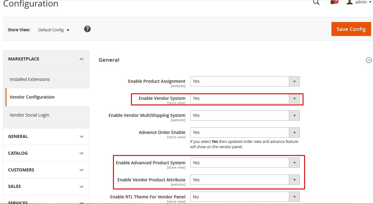 Vendor Product Attribute Configuration
