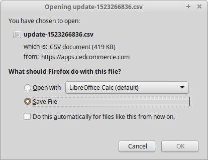 exported CSV file