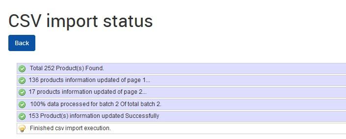 Sears CSV Import Status