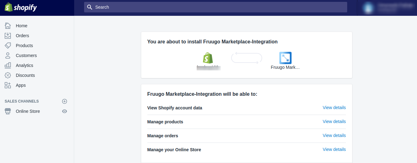 Fruugo Integration app install