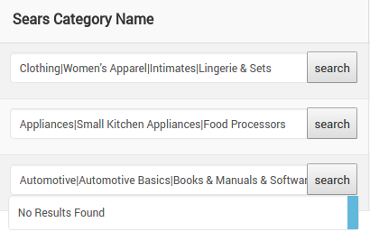 Sears Category Name