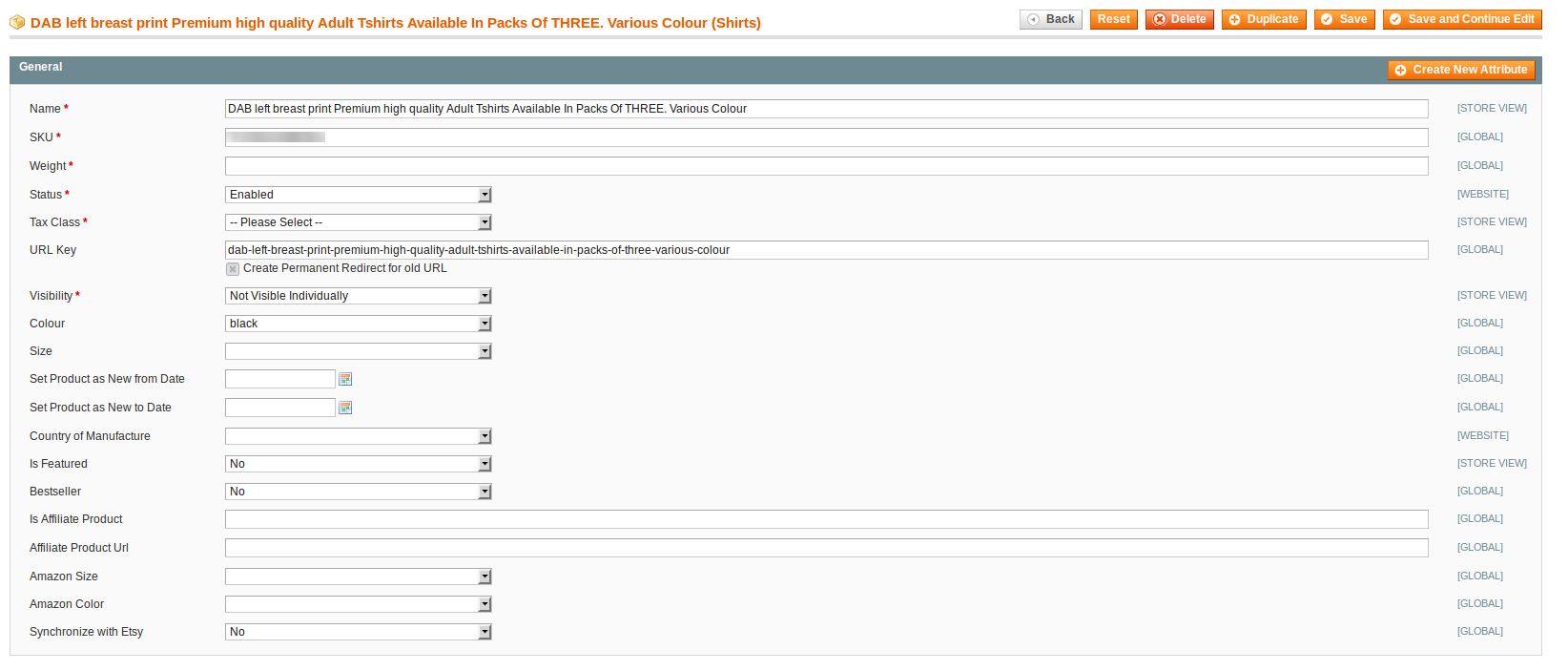 amazon magento product features edit