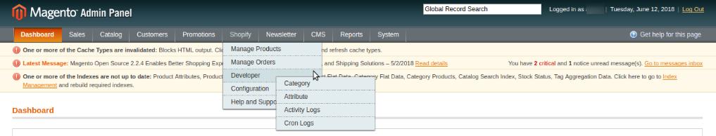 shopify developer settings