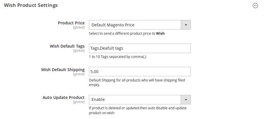wish product settings