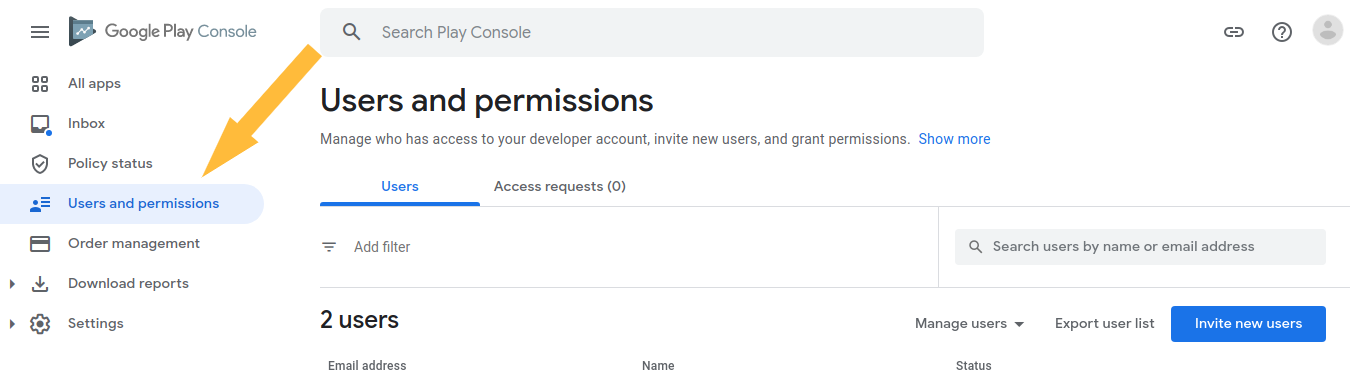 Here are the steps to give admin access to your Google Developer account: