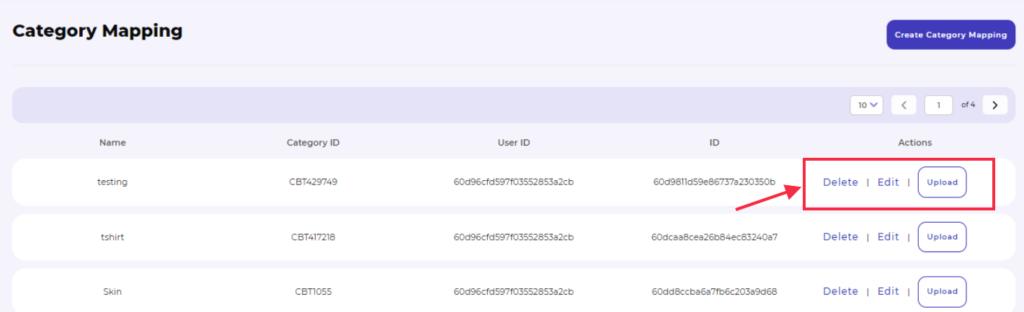 Mercado Libre integration category mapping edit delete