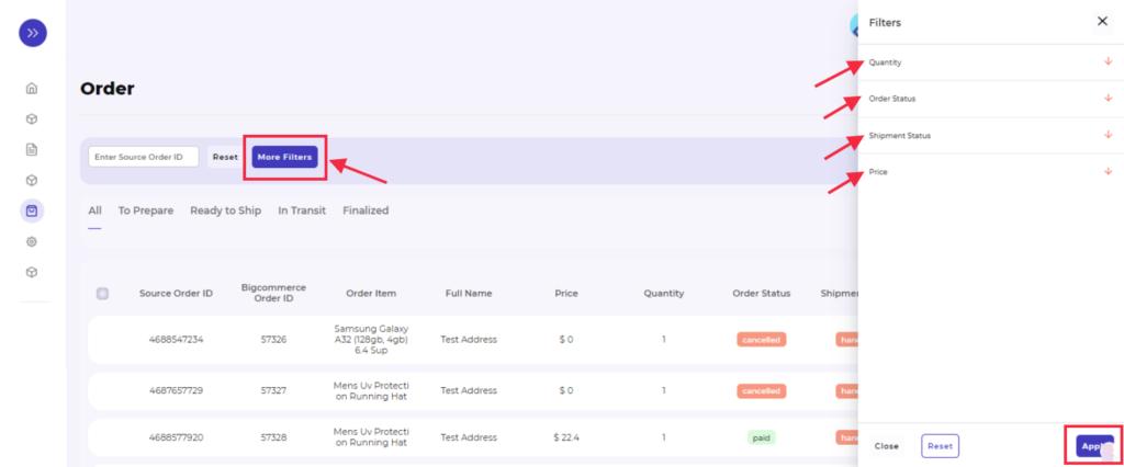 mercado libre integration order filter