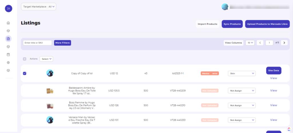 mercado libre integration listings page